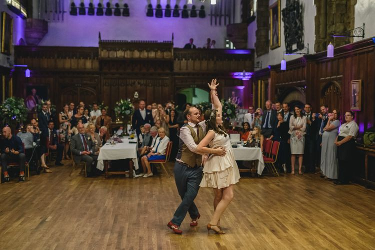 Choreographed First Dance For Wedding At Durham Castle Wedding With Classic Styling And Bride In Claire Pettibone & Alexander McQueen Images From Stan Seaton