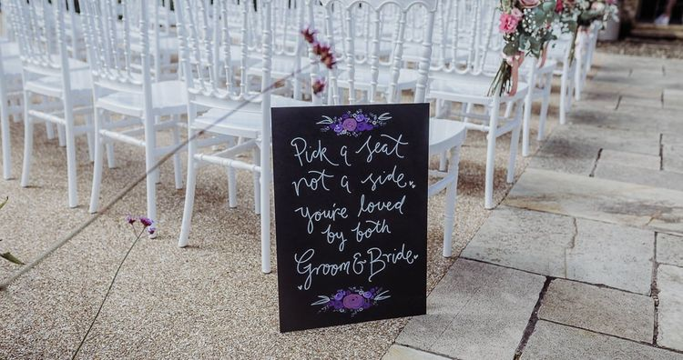 Chalkboard wedding sign for outdoor ceremony