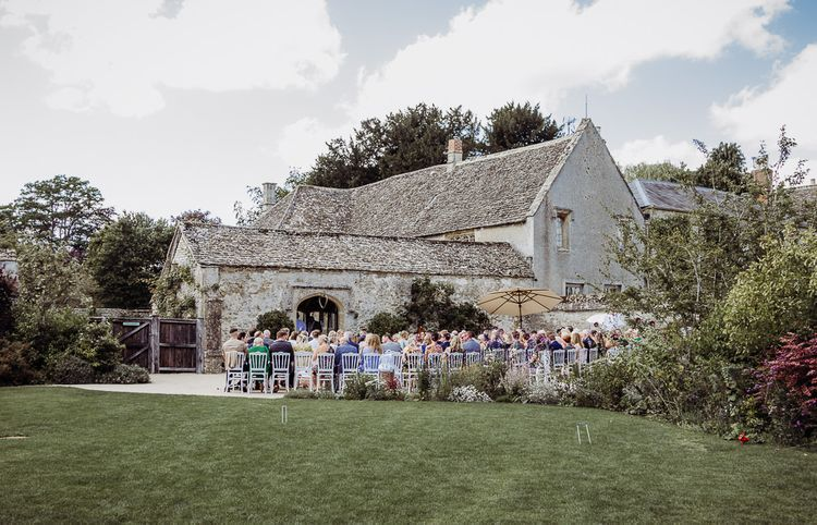 Outdoor wedding ceremony at Caswell House
