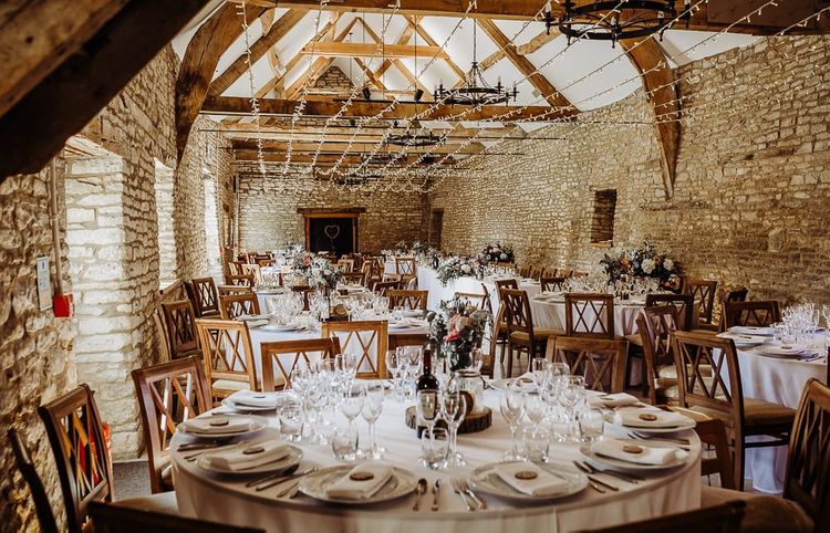 Caswell House wedding breakfast with fairy lights