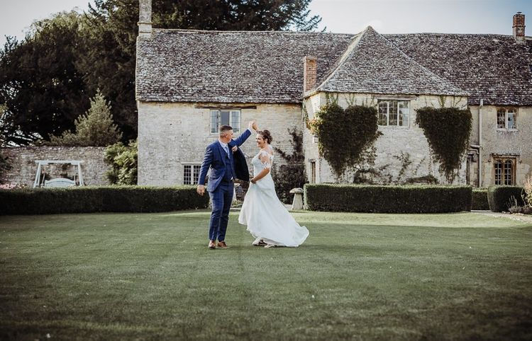 Bride and groom at Caswell House