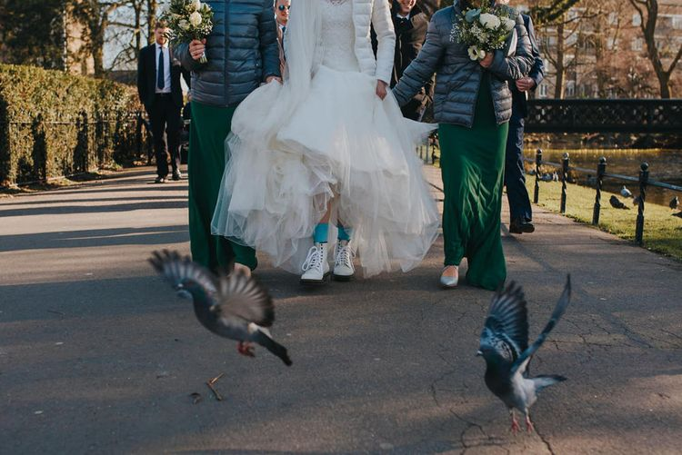 Bride Wears Blue Socks for Something Blue and White Dr Martens // Images by Remain In Light