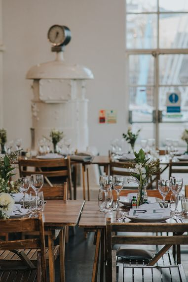 Stunning Simple Decor for Reception // Trestle Tables and Glassware // Images by Remain In Light