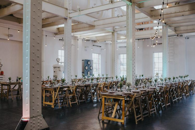 Festoon Lighting // Stunning Simple Decor for Reception // Trestle Tables and Glassware // Images by Remain In Light