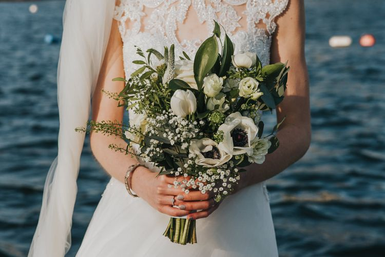 DIY Bridal Bouquet, White Flowers and Greenery // Winter Wedding at The West Reservoir Centre, Stoke Newington | Bride wears Maggie Sottero Dress | Bridesmaids in ASOS | Images by Remain In Light