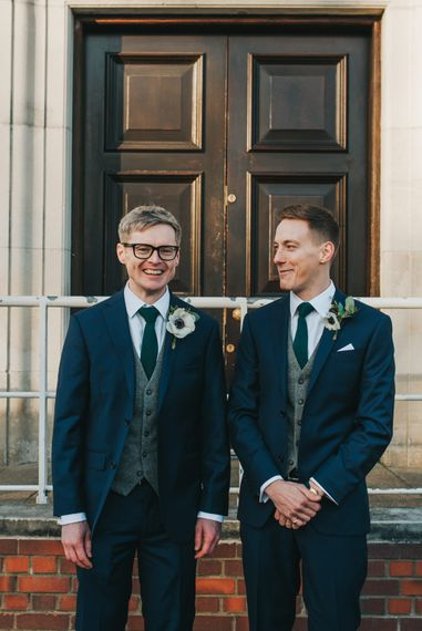 Groom and Best Man Outside The West Reservoir Centre, Stoke Newington // Images by Remain In Light