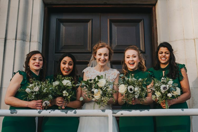Handmade Posies by the Bride // Bride and Bridesmaids in ASOS Green Dresses Outside The West Reservoir Centre, Stoke Newington // Images by Remain In Light