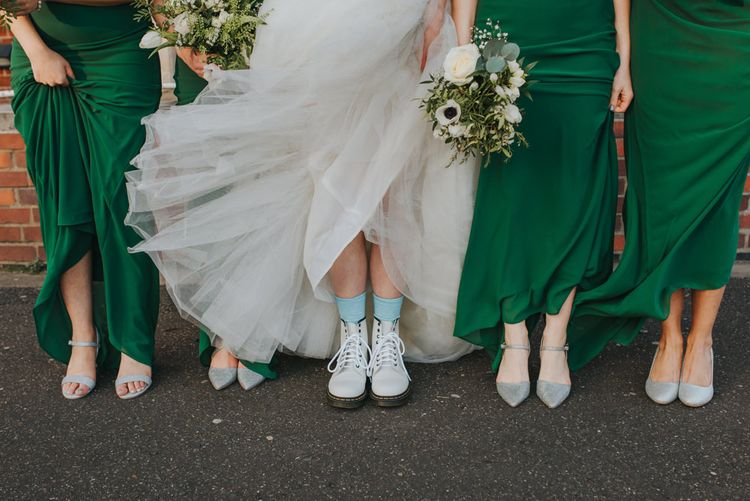 Bride Wears Blue Socks For Something Blue // Handmade Posies by the Bride // Bride and Bridesmaids in ASOS Green Dresses // Images by Remain In Light