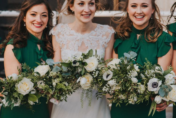 Handmade Posies by the Bride // Bride and Bridesmaids in ASOS Green Dresses // Images by Remain In Light