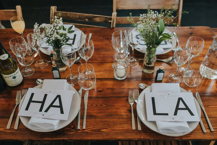Glass Wear and Small Vases with White and Green // Table Decor Inspired By Bride and Grooms Love For Cycling // Images by Remain In Light
