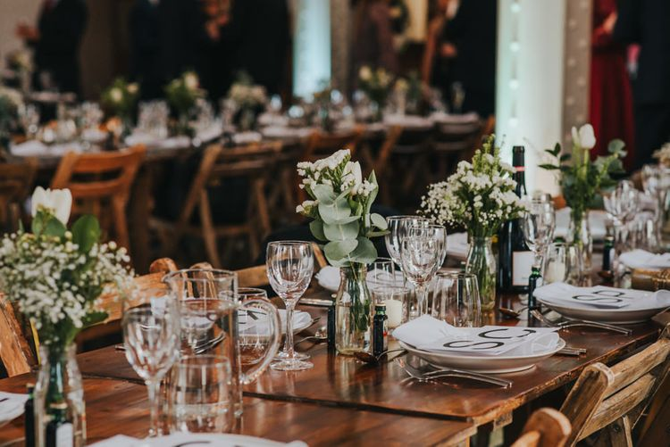 Trestle Tables without Table Linen // Glass Ware and White and Green Flowers in Vases // Images by Remain In Light