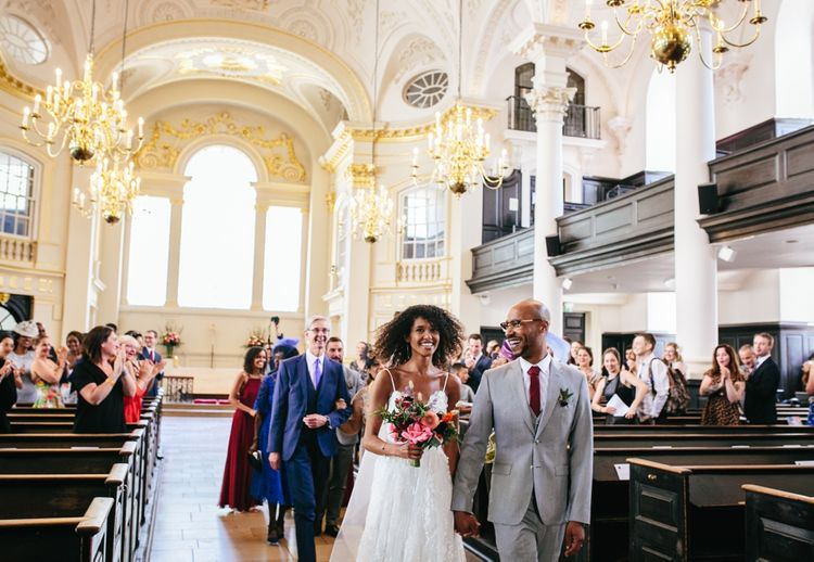 London Church Wedding // Stylish Rooftop Wedding At Ace Hotel Shoreditch // Image By Story Wedding Photography // Bride In Catherine Deane // Bobbi Brown Bridal