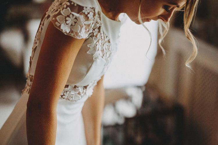 Floral Laser Cut Lace Wedding Dress With Cap Sleeves By Rime Arodaky