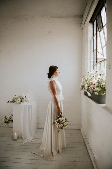 Satin skirt and lace top bridal separates for minimalism wedding
