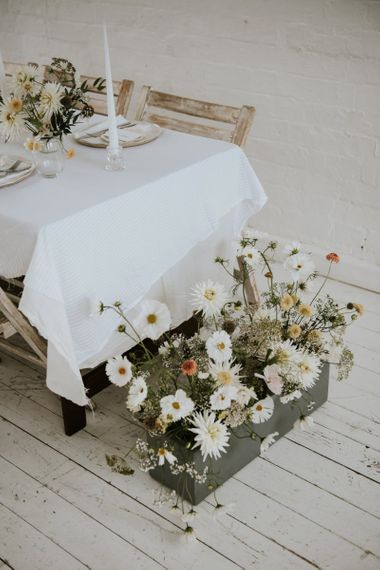 Wedding flower box with delicate flowers