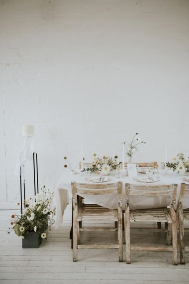 Intimate reception table for minimalism wedding