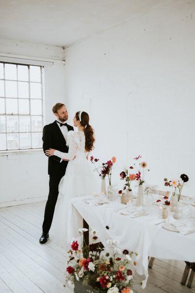 Black tie wedding fashion for minimalist wedding.