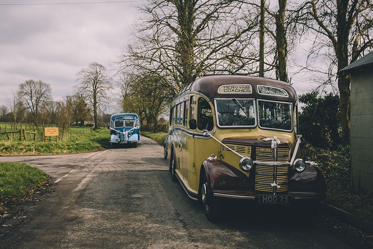 Vintage Bus For Wedding // Rue De Seine Bride With Flower Crown For Magical Tipi Wedding In Wiltshire With Images By Story + Colour Photography
