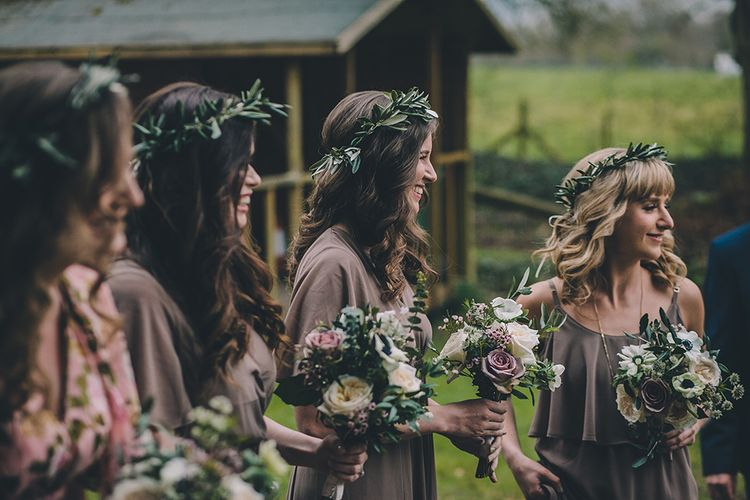 Bridesmaids In Taupe Dresses From Show Me Your Mumu // Rue De Seine Bride With Flower Crown For Magical Tipi Wedding In Wiltshire With Images By Story + Colour Photography