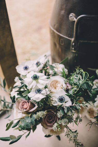 White Anemone Wedding Bouquet // Rue De Seine Bride With Flower Crown For Magical Tipi Wedding In Wiltshire With Images By Story + Colour Photography