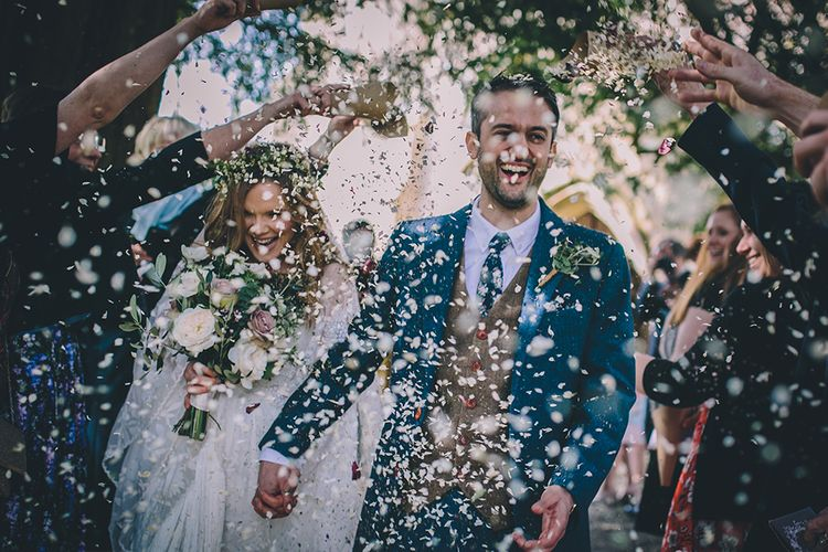 Confetti Shot // Rue De Seine Bride With Flower Crown For Magical Tipi Wedding In Wiltshire With Images By Story + Colour Photography