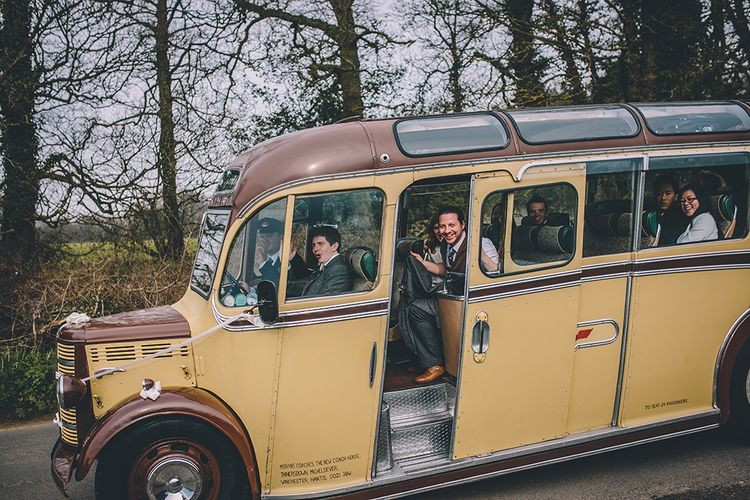 Vintage Bus Wedding Transport // Rue De Seine Bride With Flower Crown For Magical Tipi Wedding In Wiltshire With Images By Story + Colour Photography