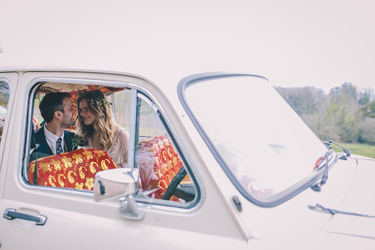 Indian Ambassador Car For Wedding // Rue De Seine Bride With Flower Crown For Magical Tipi Wedding In Wiltshire With Images By Story + Colour Photography