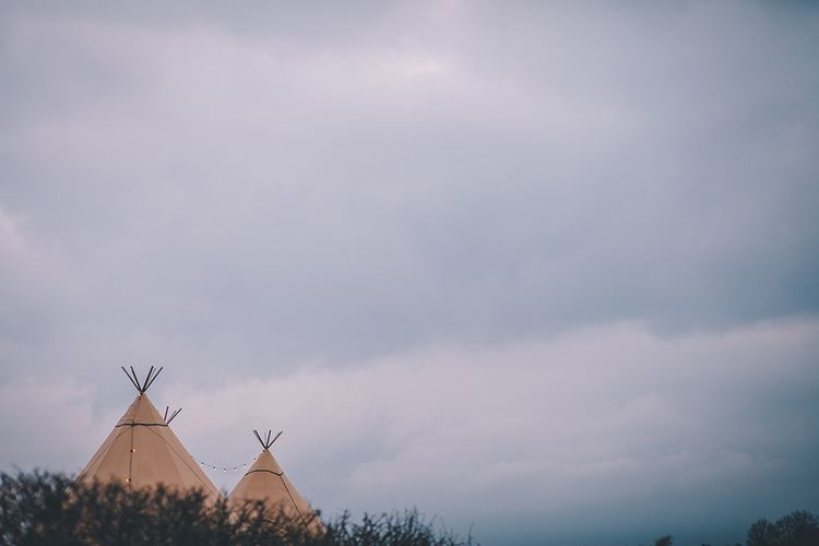 Tipi Wedding // Rue De Seine Bride With Flower Crown For Magical Tipi Wedding In Wiltshire With Images By Story + Colour Photography