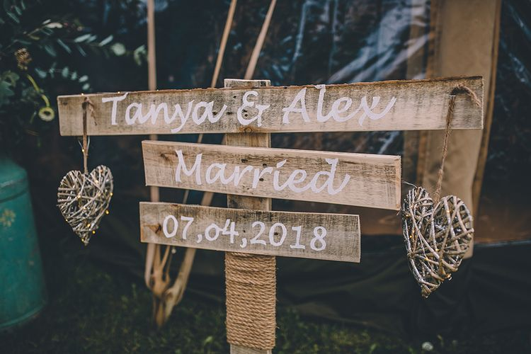 Wooden Wedding Signage // Rue De Seine Bride With Flower Crown For Magical Tipi Wedding In Wiltshire With Images By Story + Colour Photography