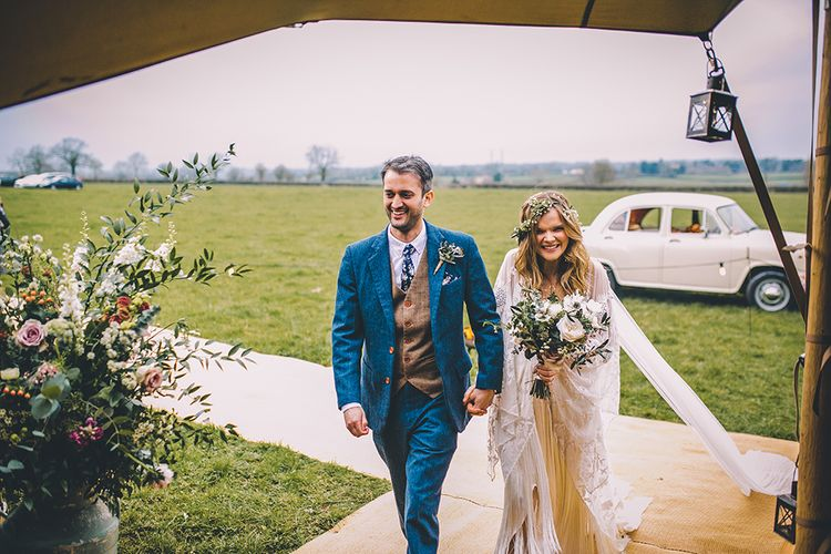 Rue De Seine Bride With Flower Crown For Magical Tipi Wedding In Wiltshire With Images By Story + Colour Photography