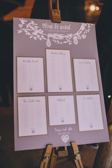 Rustic Boho Wedding Table Plan // Rue De Seine Bride With Flower Crown For Magical Tipi Wedding In Wiltshire With Images By Story + Colour Photography