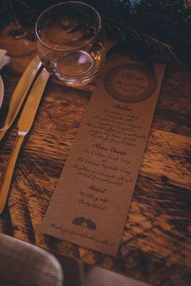 Kraft Paper Wedding Stationery // Rue De Seine Bride With Flower Crown For Magical Tipi Wedding In Wiltshire With Images By Story + Colour Photography