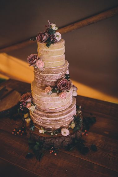 Naked Wedding Cake With Fresh Flowers // Rue De Seine Bride With Flower Crown For Magical Tipi Wedding In Wiltshire With Images By Story + Colour Photography