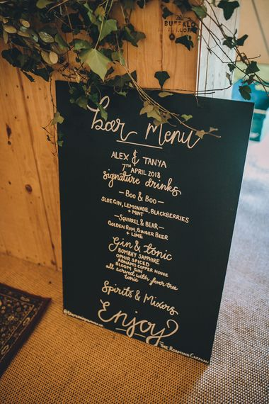 Chalkboard Bar Sign // Rue De Seine Bride With Flower Crown For Magical Tipi Wedding In Wiltshire With Images By Story + Colour Photography
