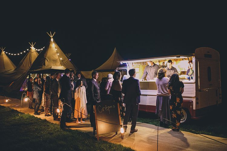 Fairy Light Filled Tipi Wedding // Rue De Seine Bride With Flower Crown For Magical Tipi Wedding In Wiltshire With Images By Story + Colour Photography
