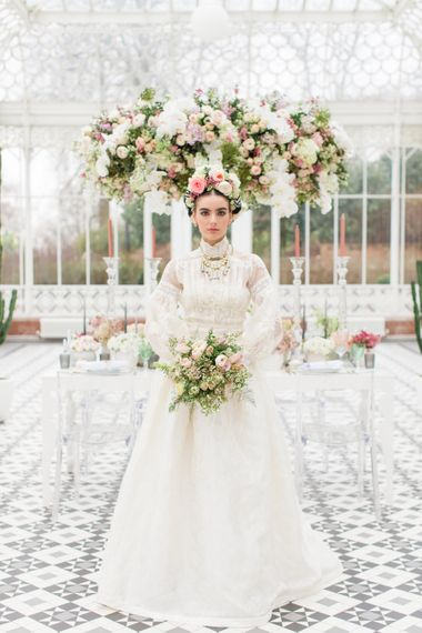 Delicate & Feminine, and Bold & Passionate Frida Kahlo Wedding Inspiration at Horniman Museum Glasshouse Venue | Styled by Anna Fern Events | Elizabeth's Cake Emporium | Wild About Flowers | Joanne Fleming Design Gowns | Roberta Facchini Photography