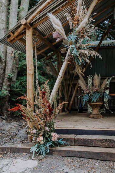 Wooden Altar Flower Arrangements