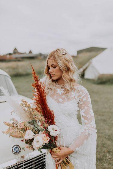 Boho Bride in Victoria Ferguson Chain Headdress
