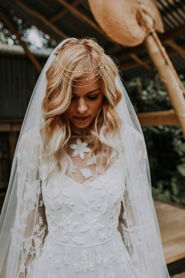 Boho Bride with Applique Wedding Dress and Hair Chain Accessory