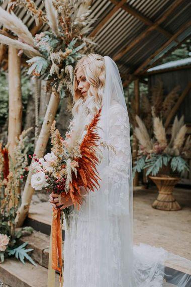 Boho Bride at Woodland Wedding Ceremony