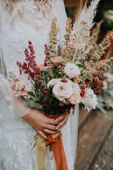 Natural Rose and Stocks Wedding Bouquet