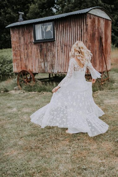 Bride in Boho Wedding Dress with Lace Detail