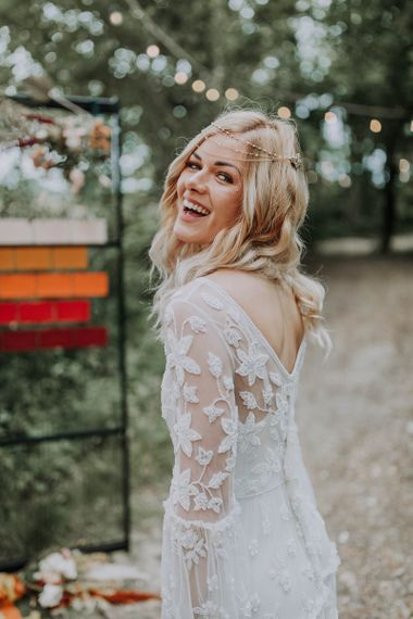 Boho Bride in Lace Wedding Dress with Long Sleeves and Victoria Ferguson Headpiece