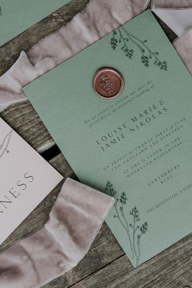 Green Wedding Invitation with Copper Wax Seal