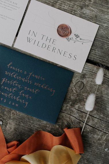Wedding Stationery Suite with Calligraphy Envelopes and Wax Seals