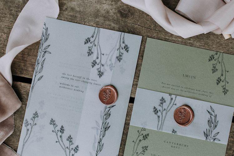 Natural Green Wedding Invitations with Wax Seals