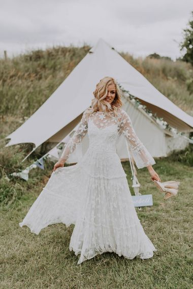 Boho Bride in Applique Wedding Dress with 3/4 Bell Sleeves