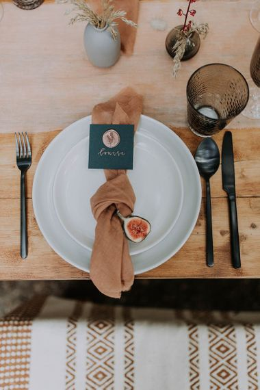 Place Setting with Natural Linen Napkin and Wax Seal Name Place Card
