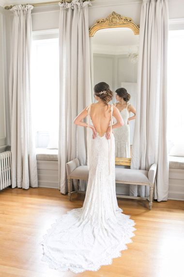 Bride in Backless Fitted Lace Daughters of Simone Wedding Dress via Coco & Kate Bridal Boutique | Spring Equinox at Thorpe Manor Wedding Venue by Revival Rooms | Anneli Marinovich Photography