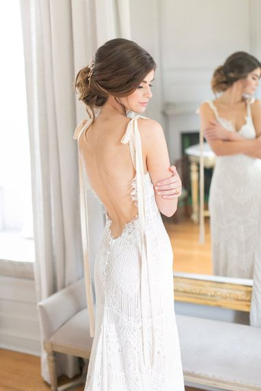 Bride in Fitted Lace Daughters of Simone Wedding Dress with Love Back via Coco & Kate Bridal Boutique | Spring Equinox at Thorpe Manor Wedding Venue by Revival Rooms | Anneli Marinovich Photography